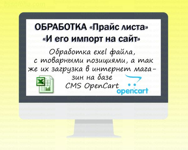 Изменения xls и его импорт в интернет-магазин на базе CMS OpenCart